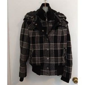 Black Plaid Wool Blend Removable Hood Heavy Coat